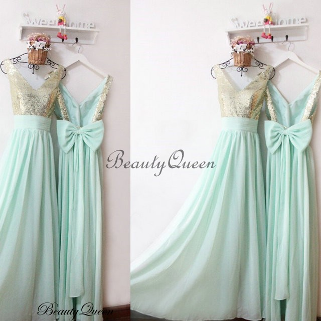 mint bridesmaid dress gold sequins bridesmaid dress 2016