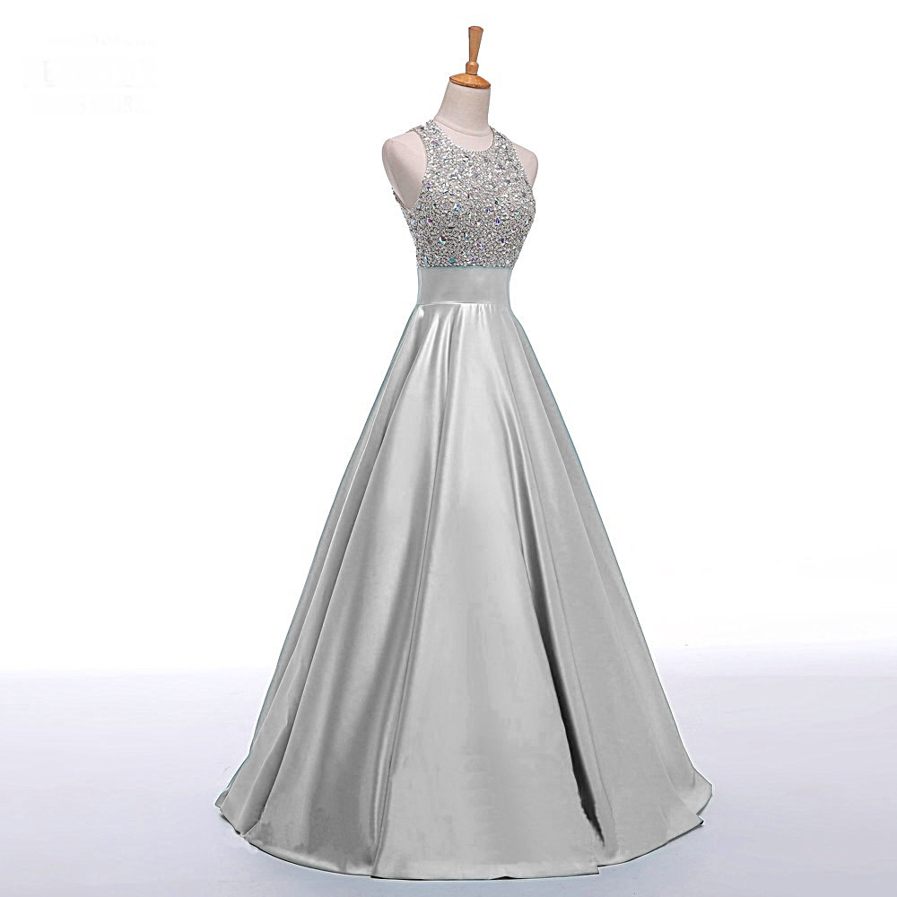 Prom dresses bateau prom gowns long satin prom dresses for Silver satin wedding dress