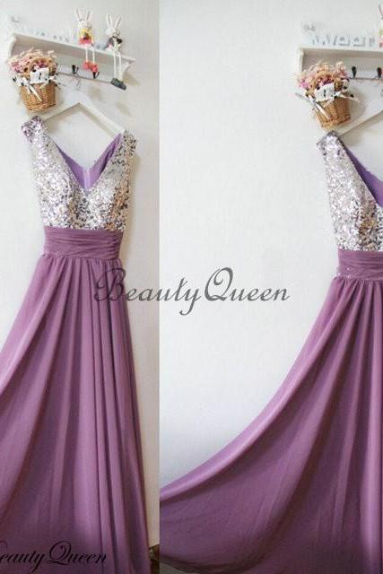 Bridesmaid Dresses with Silver Sequins, Grape Chiffon Bridesmaid Dress ,Silver Sequins Bridesmaid Dress, Maid of honor Dress,Long Chiffon Bridesmaid Dresses,V Neck Bridesmaid Dresses, 2016 Prom Dress,Evening Dress,Party Dress,Formal Dress Floor Length