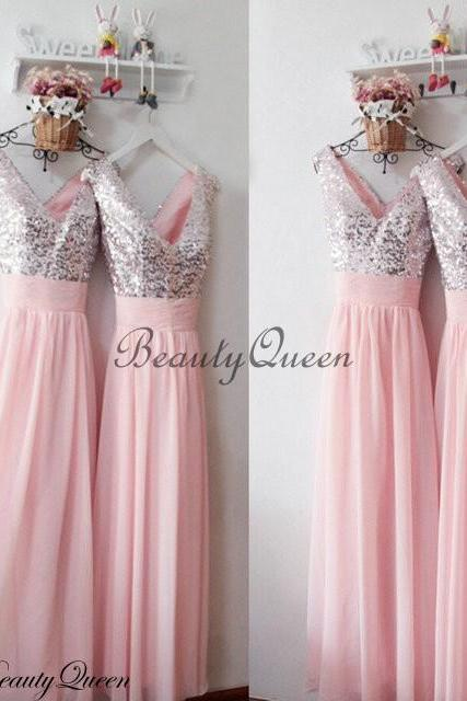 Baby Pink Bridesmaid Dress 2016 , Silver Sequins Bridesmaid Dress,Bridesmaid Dress with V Neck,Long Bridesmaid Dress,Wedding Party Dress,Sequins Party Gowns,Chiffon Bridesmaid Dress,Custom Made