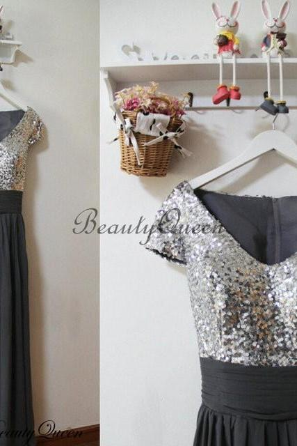Gray Bridesmaid Dress 2016 , Silver Sequins Bridesmaid Dress,Bridesmaid Dress with Short Sleeves,Long Bridesmaid Dress, Long Wedding Party Dress,Sequins Party Gowns,Chiffon Bridesmaid Dress V Neckline,Prom Dress,Formal Dress