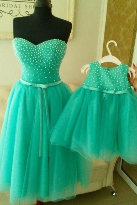 Prom Dresses, Evening Dresses, 2016 Prom Dress with Pearls, Mint Green Evening Dress,Knee Length Evening Gowns,Sweetheart Prom Dress, Tulle Prom Dress, Vintage Evening Dress, Celebrity Dresses, Formal Dresses,Pageant Dress