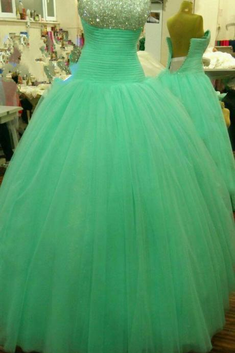 Prom Dresses,Long Prom Dress Ball Gown, Mint Green Prom Dresses,Long Dresses,Evening Dress,Mint Prom Gowns, Puffy Tulle Prom Dress Beaded,Pageant Dress,Sweetheart Prom Dress