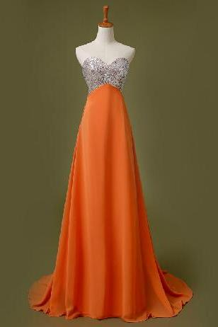 Prom Dresses,Long Prom Dress, Orange Prom Dresses,Long Party Dresses,2016 Evening Dress,Strapless Prom Gowns, Chiffon Prom Dress Beaded,Pageant Dress,Sweetheart Prom Dress,2016