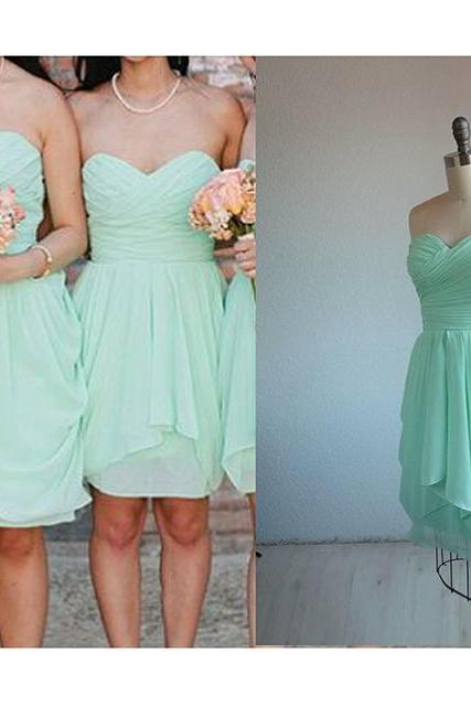 Mint Bridesmaid Dress,Sexy Short Bridesmaid Dress, 2016 Bridesmaid Dress,Sweetheart Bridesmaid Dress,Wedding Party Dresses,Mini Party Dress, Short Prom Dress, Sweetheart Chiffon Bridesmaid Dress