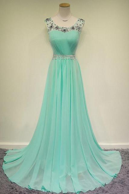 Prom Dresses,Long Prom Dress Sequined,Mint Prom Dresses,Long Party Dresses,2016 Evening Dress,Scoop Prom Gowns, Chiffon Prom Dress Beaded,Pageant Dress,Mint Green Prom Dress,2016,Real Samples