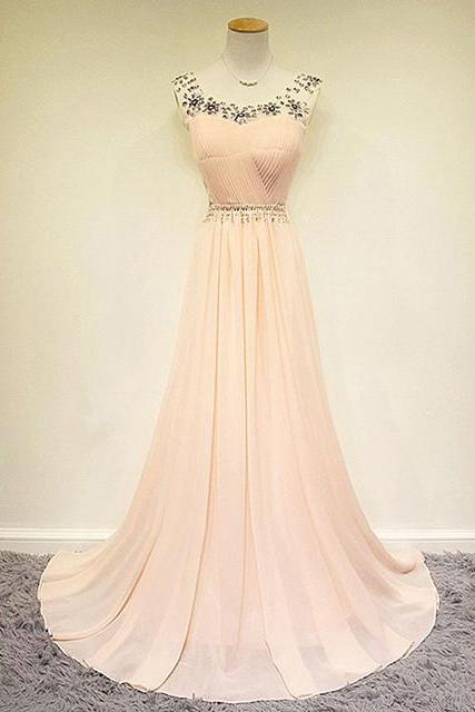 Peach Prom Dresses,Long Prom Dress Beaded,2016 Prom Dresses,Long Party Dresses,2016 Evening Dress,Scoop Prom Gowns, Chiffon Prom Dress Beaded,Pageant Dress,Peach Prom Gowns,2016,Real Samples