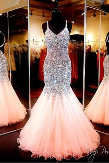 Mermaid Prom Dresses,Sexy Prom Dresses, See Through Coral Prom Dresses Long,Prom Dress 2016,Spaghetti Straps Prom Dresses Beaded,Evening Dresses,Trumpet Evening Gowns,Pageant Dress,Mermaid Prom Dresses,Custom Made