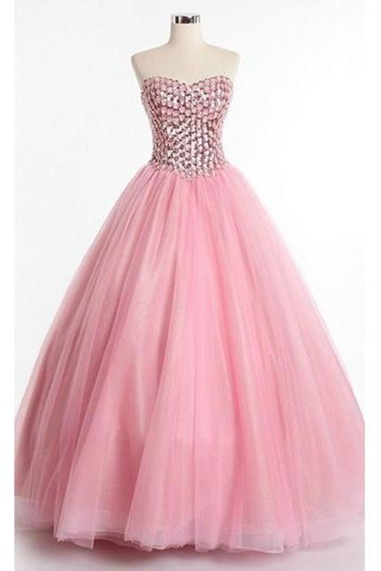 Quinceanera Dresses,Long Prom Dresses Ball Gown,Pink Prom Dresses,Formal Sweet 16 Dress,Sweet 15 Dresses, Puffy Tulle Prom Dress Beaded,Pageant Dress,Sweetheart,Prom Dresses