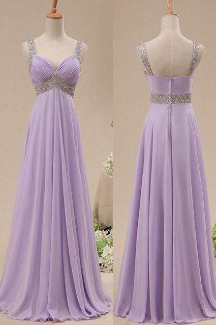 Prom Dresses, Long Prom Dress 2016,Light Purple Prom Dresses,Long Party Dresses,Evening Dress,Prom Gowns with Spaghetti Straps, Chiffon Prom Dress Beaded,Sequined Prom Dress,Court Train
