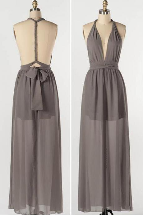 Gray Prom Dresses, Sexy Prom Dresses,Long Prom Dress 2016,Halter Neckline Grey Prom Dresses, Evening Gowns, Beach Prom Dresses Backless,Prom Dresses,Custom Made