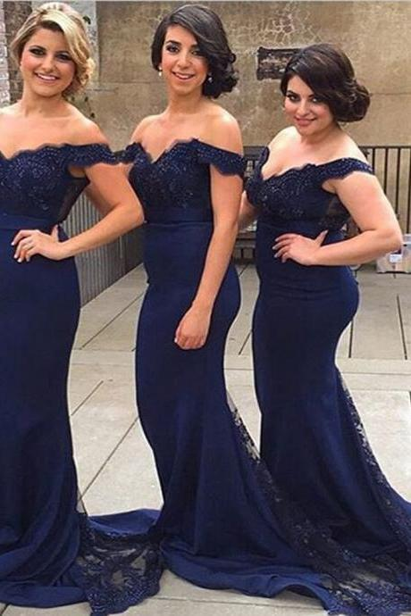 Prom Dresses,Navy Blue Mermaid Prom Dresses,Sexy Bridesmaid Dresses, Off The Shoulder,Lace Bridesmaid Dresses,Party Dresses