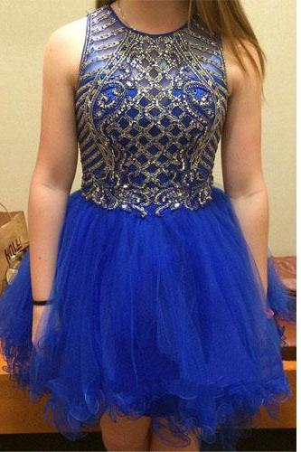 Homecoming Dress,Royal Blue Homecoming Dress,2016,Tulle Prom Dress,Short Homecoming Dress,Sexy Short Prom Dress with Beadings,Graduation Dress