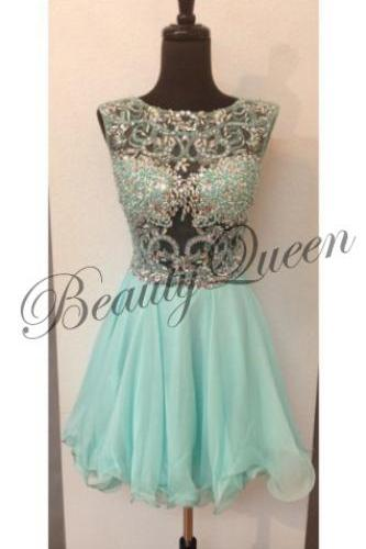 Homecoming Dress,Mint Homecoming Dress,2016,Mint Green Chiffon Prom Dress,Short Homecoming Dress,Sexy Short Prom Dress with Beadings,Graduation Dress