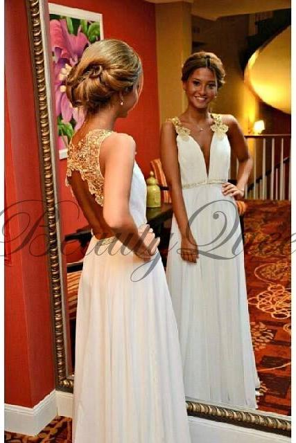 Prom Dresses,Chiffon Prom Dresses with Gold Lace Appliqués ,Sexy V Neckline Prom Dresses, 2016 Prom Dresses, Evening Dresses,A line Prom Gowns,Backless Prom Dresses Appliquéd