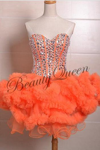 Homecoming Dresses,Sweetheart Homecoming Dress,2016,Orange Prom Dress,Tulle Short Homecoming Dress,Sexy Short Prom Dress with Puffy Ruffles,Graduation Dress