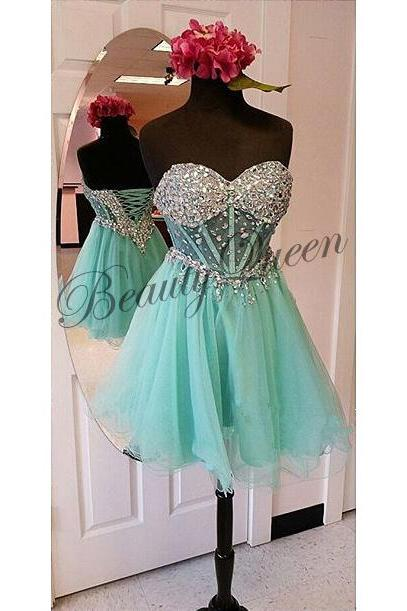 Homecoming Dresses,Sweetheart Homecoming Dress,2016,Mint Prom Dress,See Through Organza Homecoming Dress,Sexy Short Prom Dress ,Graduation Dress,Sexy Party Dress