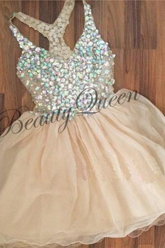 Homecoming Dresses,V Neckline Homecoming Dress 2016,Champagne Prom Dress,Short Chiffon Homecoming Dress,Sexy Sheer Through Prom Dress,Graduation Dresses