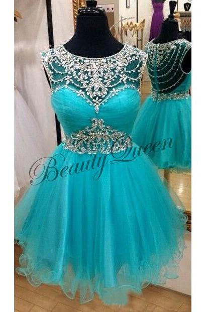 Homecoming Dresses,Sheer Neckline Homecoming Dress,Turquoise Homecoming Dress,2016,Turquoise Prom Dress,Tulle Ruffles Short Homecoming Dress,Sexy Short Prom Dress Sheer Back,Graduation Dress