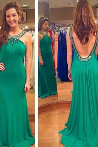 Prom Dresses,Green Prom Dresses,Halter Prom Dress,Backless Prom Dress
