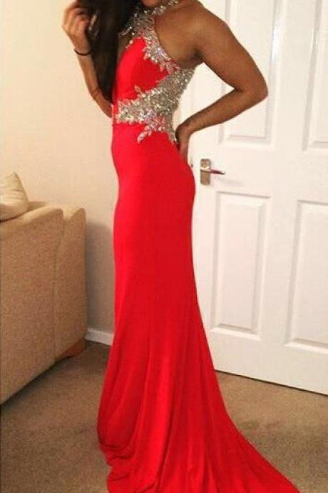 Prom Dresses,Halter Neckline Prom Gowns,Long Prom Dresses,Red Prom Dress,Mermaid Prom Dress,Prom Dresses with Beadings,Evening Dress,2017