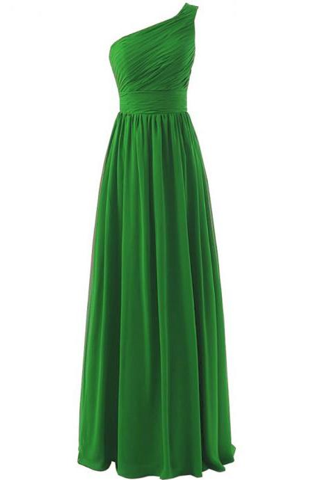 Bridesmaid Dress, Green Bridesmaids Dress, Long Bridesmaid Dress, 2017 Bridesmaid Dress, One Shoulder Bridesmaid Dress,Wedding Party Dresses, Evening Dress,Prom Dress, Chiffon Bridesmaid Dress, Pageant Dress, Custom Made