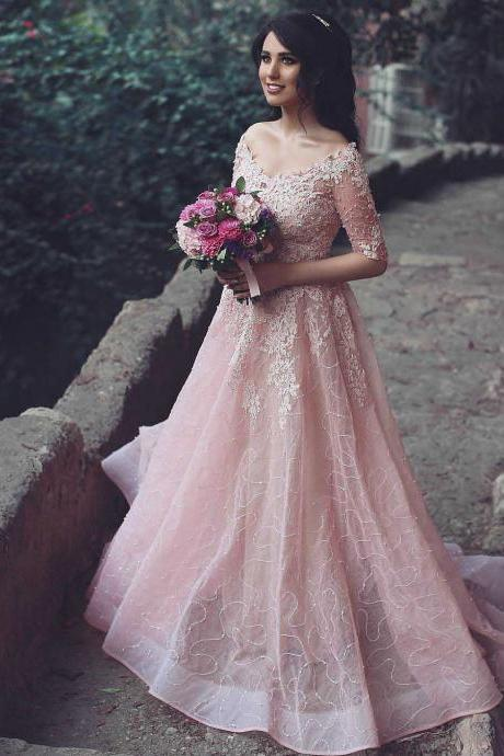 Prom Dresses, Prom Dress with Half Sleeves, Long Prom Dresses, Prom Dress with Sequins, Sparkly Prom Dresses Long, V Neck Tulle Prom Dress, 2017 Prom Dresses, Sexy Prom Dress, Blush Pink Prom Dresses, Custom Made