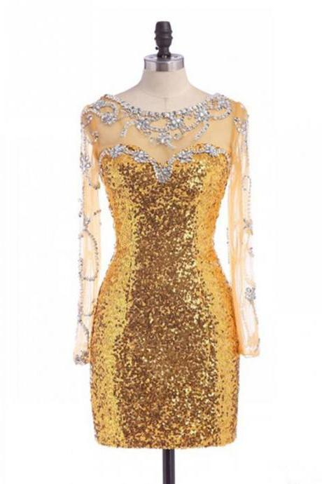 Short Prom Dresses, Gold Sequins Prom Dresses, Sequined Prom Dresses, Long Sleeves Prom Dresses, Short Prom Dress, Real Samples Prom Dresses, 2017 Prom Dresses Beaded, Short Homecoming Dresses, Graduation Dresses, Mini Party Dress, Prom Dresses 2017, Custom Made