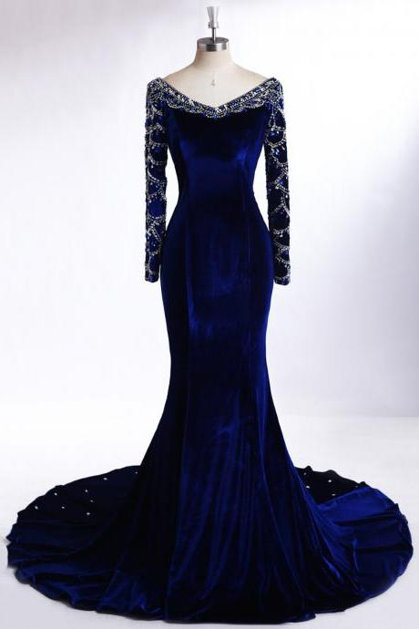 Prom Dresses, Royal Blue Prom Dresses, Long Sleeve Prom Dress, Mermaid Prom Dresses, Royal Blue Velvet Mermaid Evening Gown, Evening Dresses with Silver Beadings, Mermaid Prom Dresses with Full Sleeves, Wedding Party Dresses, 2017 Prom Dresses, Custom Made