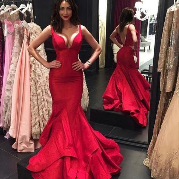 Backless Prom Dress 2018, Sexy Mermaid Prom Dresses,Long Prom Dress 2018,Prom Dresses with V Neckline,Evening Dresses,Red Evening Gowns,Prom Party Dresses,Pageant Dresses,Prom Dresses,Custom Made