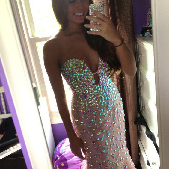 Strapless Prom Dresses, Mermaid Prom Dresses,Long Prom Dress 2018,Prom Dresses with Colorful Beadings,Sexy Evening Dresses,Pink Evening Gowns,Prom Party Dresses,Pageant Dresses,Sexy Prom Dresses Sweetheart,Custom Made
