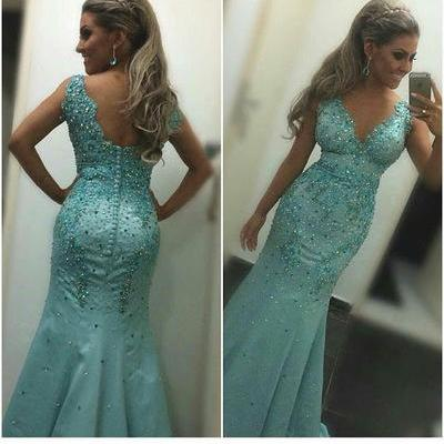 Prom Dresses, Mermaid Prom Dresses,Long Prom Dress 2018,Prom Dresses with Colorful Beadings,Sexy Evening Dresses,Turquoise Evening Gowns,Prom Party Dresses,Pageant Dresses,Sexy Prom Dresses,Custom Made