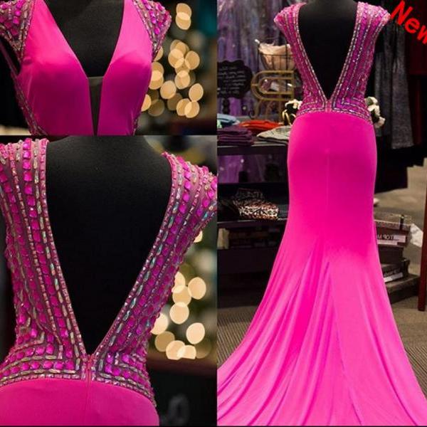 Mermaid Prom Dress, Sexy Mermaid Prom Dresses,Long Prom Dress 2018,Prom Dresses with Beadings,Sexy Evening Dresses,Fuchsia Evening Gowns,Prom Party Dresses,Pageant Dresses,Prom Dresses with V Neck,Custom Made