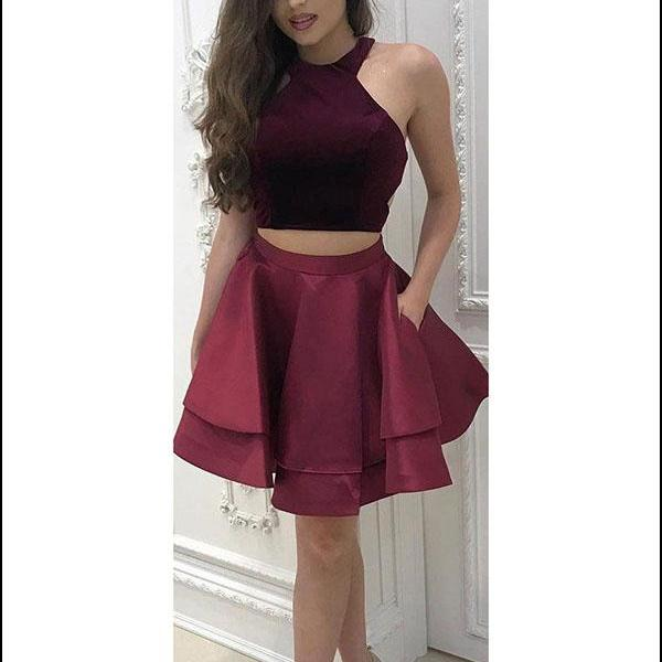 Burgundy Prom Dresses, Short Homecoming Dresses, Two Pieces Prom Dresses, Velvet Prom Dresses, Sexy Prom Dresses, 2 Pieces Prom Dresses, 2018 Prom Dresses, Homecoming Dresses, Graduation Dresses, Prom Dresses Satin, Custom Made