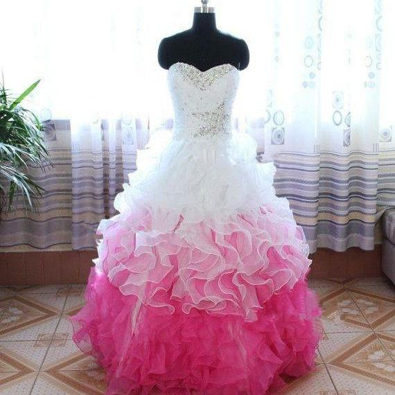 Prom Dresses,Long Prom Dress Ball Gown,White and Pink Prom Dresses,Formal Evening Dress,Hot Pink Prom Gowns, Puffy Organza Prom Dress Beaded,Pageant Dress,Sweetheart Prom Dress